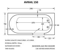 Avrail Left Hand Walk In Bath 1500mm x 700mm